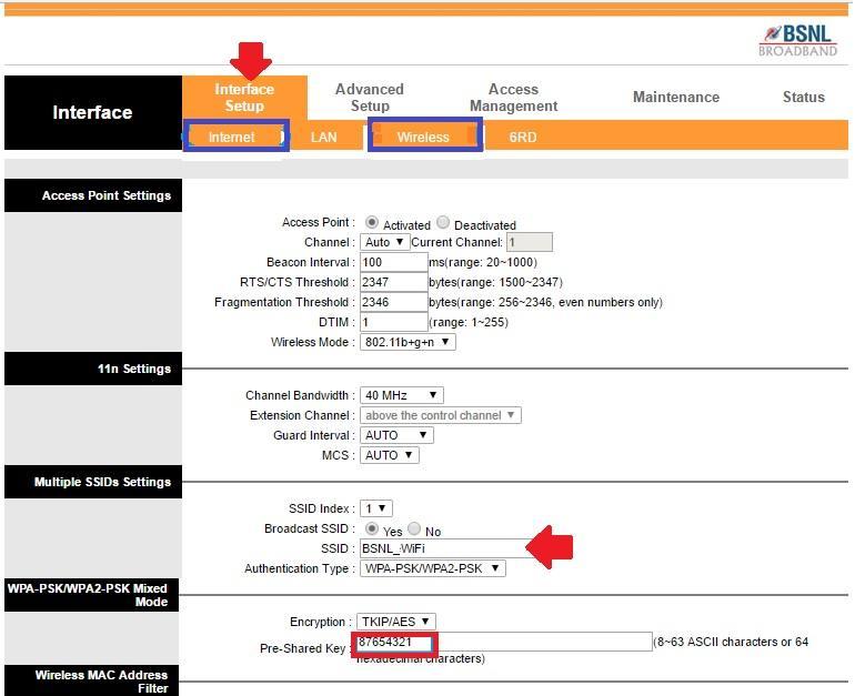 Default password of BSNL Teracom modem gateway